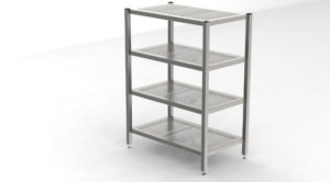 Cleanroom Rack with 4 Perforated Shelves -1198